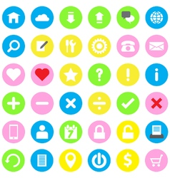 Web icon flat style on colorful circle background vector