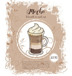 Hand drawn of drinks menu pages with cup of mocha vector