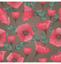 seamless pattern with hand drawn flowers vector image