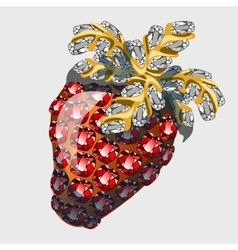 Red strawberry made of precious stones rubies vector