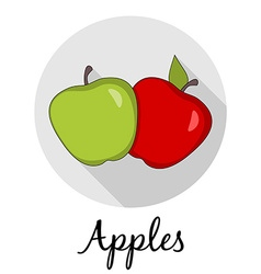 Two apples with long shadow caption isolated vector