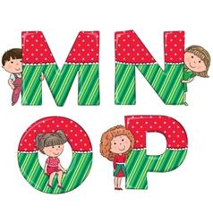 Alphabet kids MNOP vector image vector image