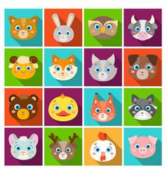 animal muzzle set icons in flat style big vector image