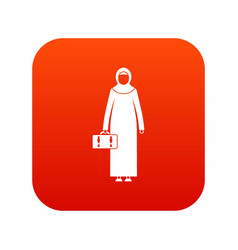 Arabic woman icon digital red vector