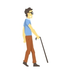 Blind Man Walking With Walking Stick Young Person vector image