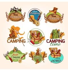 Camping sketch emblems vector image vector image