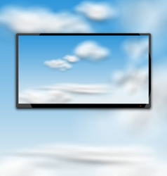 Cloudscape with Black Tablet PC Computer vector image vector image