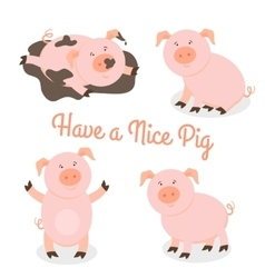Cute happy cartoon pigs set vector image vector image