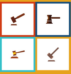 Flat icon lawyer set of justice hammer vector