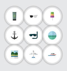 flat icon season set of ship hook moisturizer vector image vector image