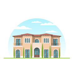 frontview of mediterranean style suburban private vector image