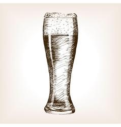 Glass of beer sketch style vector