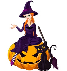 Halloween witch on pumpkin vector