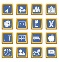 Kindergarten symbol icons set blue vector