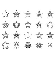 linear stars set vector image vector image