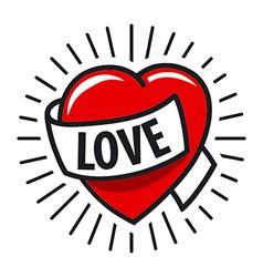 Logo red heart and ribbon vector