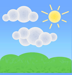 Peaceful land with clouds and sun optimistic vector