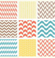 set of chevron and zigzag seamless pattern vector image vector image