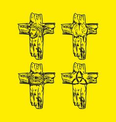 Set of wooden crosses vector
