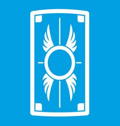 Shield with ornament icon white vector