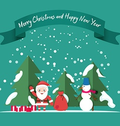 Snowman Santa snow Christmas trees gifts under the vector image vector image