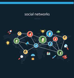 Social networks flat vector