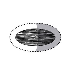 Sticker monochrome oval piece wooden board with vector