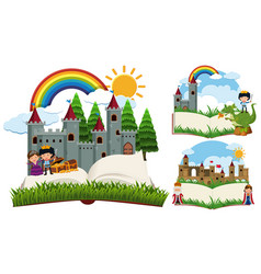 storybook with fairytale characters and castles vector image