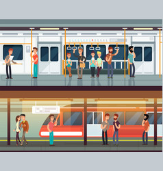Subway inside with people man and waman metro vector