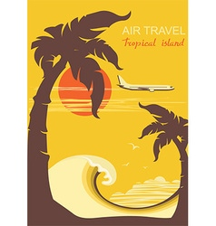 tropical paradise with palms island and aircraft vector image vector image