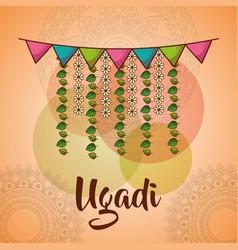 Ugadi celebration garland flowers mandala vector