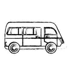 van vehicle transport classic sketch vector image