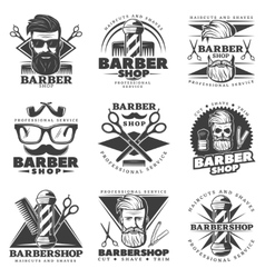 Vintage barber hipster labels vector