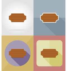 Wooden board flat icons 16 vector