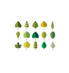 Green leaves simple icons vector
