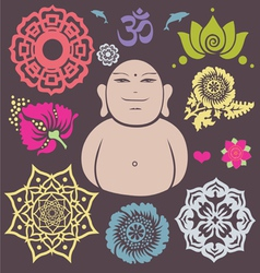 Buddha floral collection vector