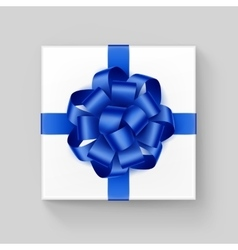 White square gift box with shiny blue ribbon bow vector