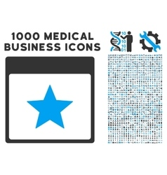 Star calendar page icon with 1000 medical business vector