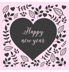 Floral heart with sign happy new year vector image
