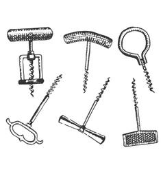Big set of corkscrew in vintage old engraving vector