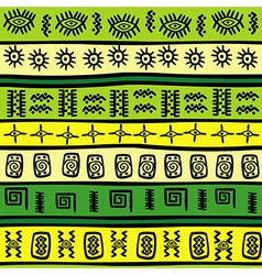 Green and yellow tribal ornaments vector