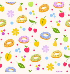 donuts tasty coockie seeamless pattern vector image