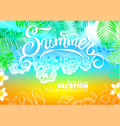 Background sea beach palm best vacation vector