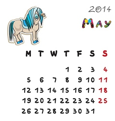 color horse calendar 2014 may vector image