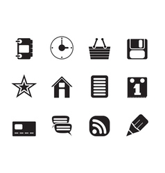Silhouette Internet and Website Icons vector image
