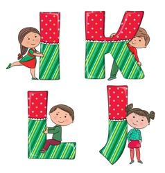 Alphabet kids IJKL vector image