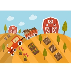 Organic farm products landscape view vector