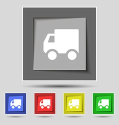 Delivery truck icon sign on the original five vector