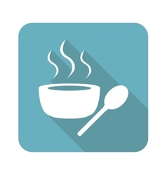 Square hot soup icon vector