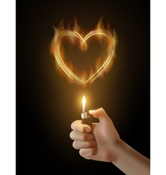 Burning heart and the hand holding the vector